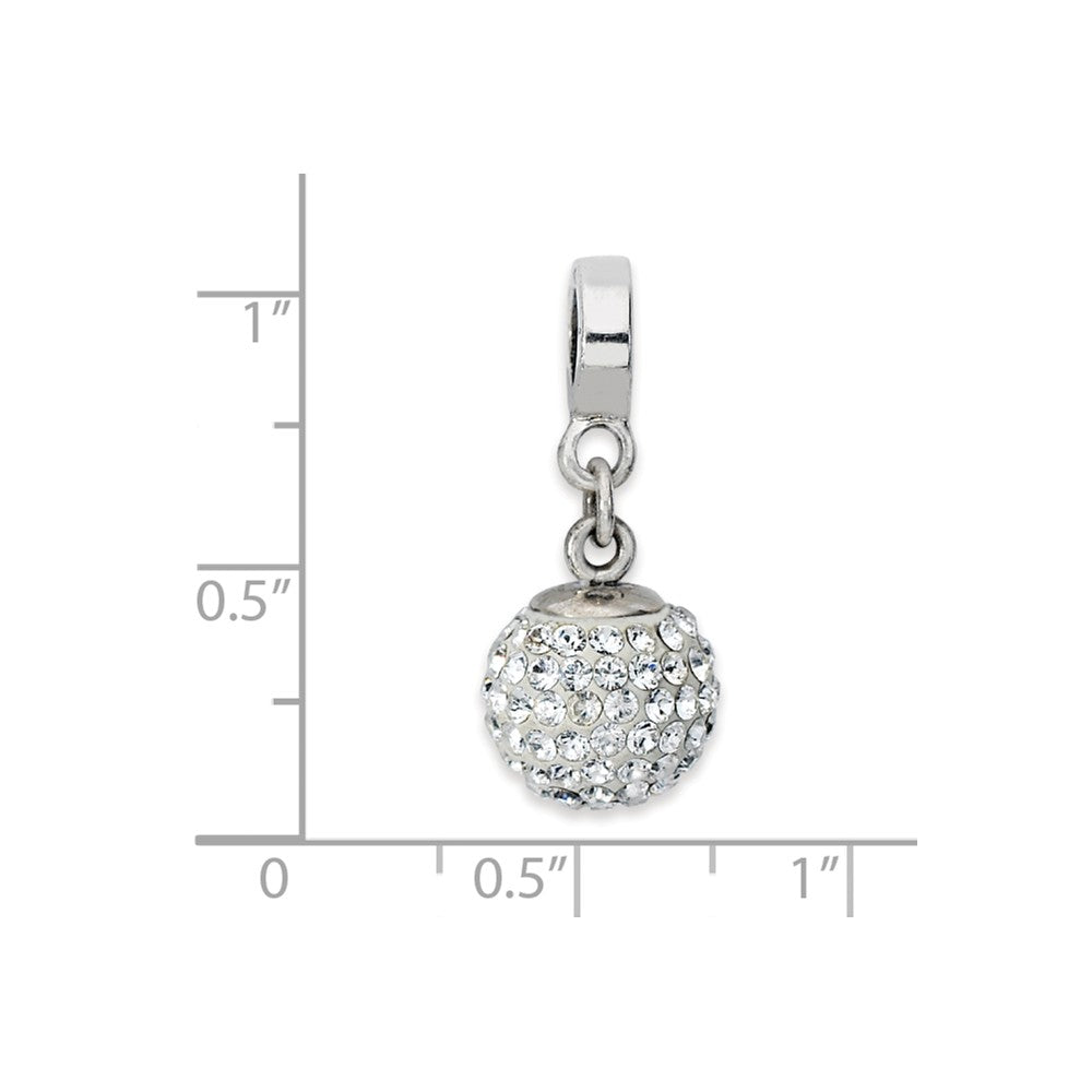 Alternate view of the Sterling Silver with Swarovski Crystals Apr Ball Dangle Bead Charm by The Black Bow Jewelry Co.