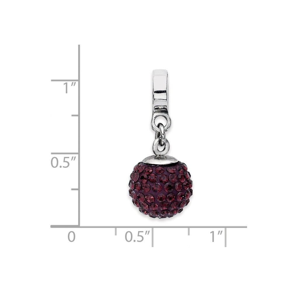 Alternate view of the Sterling Silver with Swarovski Crystals Jun Ball Dangle Bead Charm by The Black Bow Jewelry Co.
