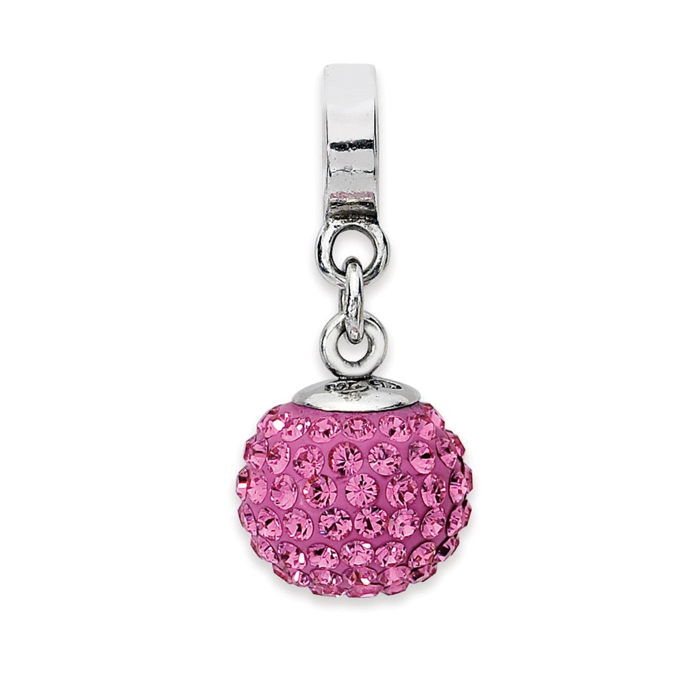 Sterling Silver with Swarovski Crystals Oct Ball Dangle Bead Charm, Item B10025 by The Black Bow Jewelry Co.
