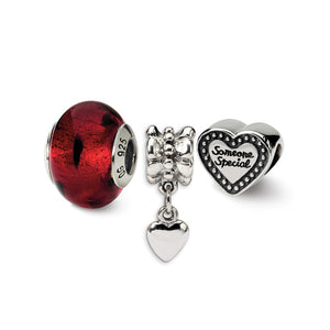 Someone Special Red Glass Bead & Sterling Silver Charm Set of 3 - The Black Bow Jewelry Co.