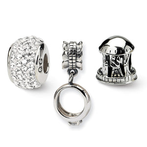 Sterling Silver & Crystals Wedding / Anniversary Bead Charm Set of 3 - The Black Bow Jewelry Co.