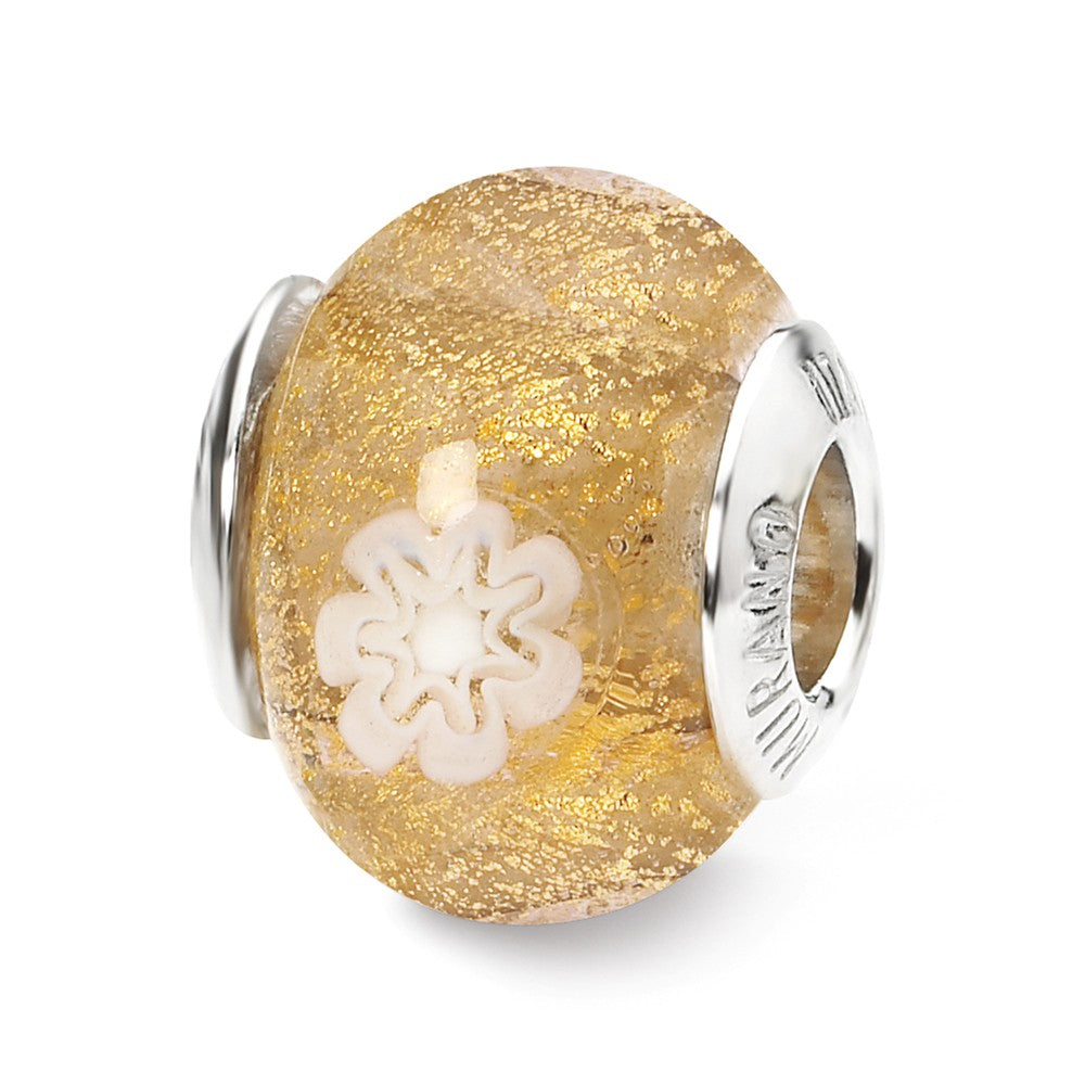 Golden/White Flower Murano Glass Bead & Sterling Silver Charm, 14mm, Item B10058 by The Black Bow Jewelry Co.