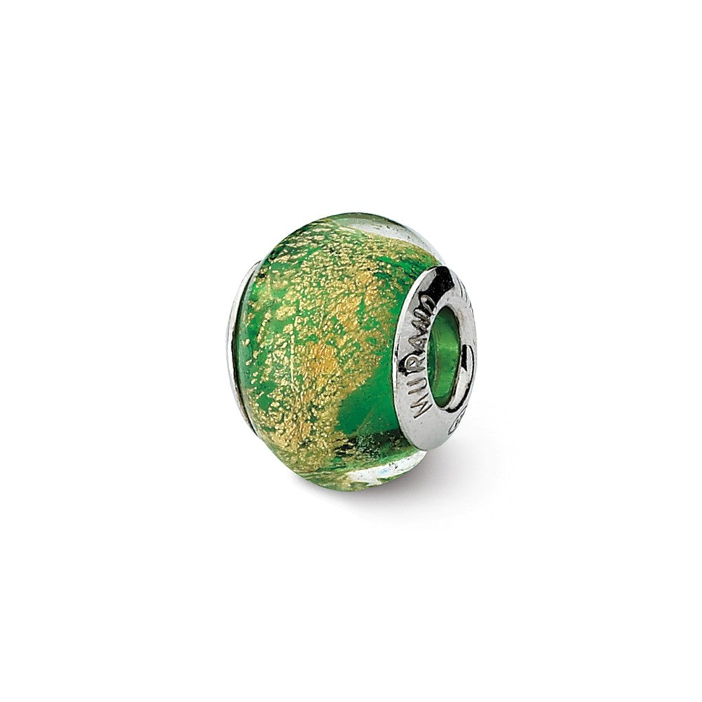 Green/Golden Italian Murano Glass Bead & Sterling Silver Charm, 14mm, Item B10089 by The Black Bow Jewelry Co.