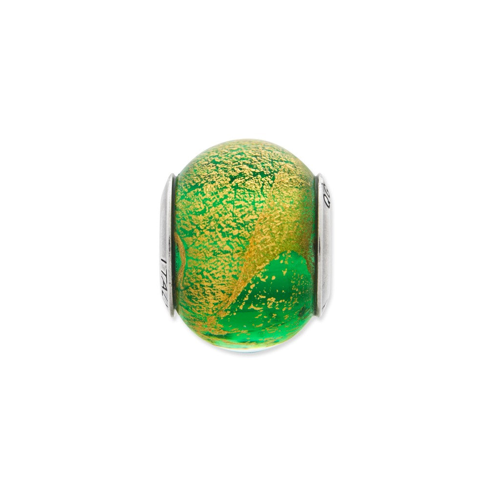 Alternate view of the Green/Golden Italian Murano Glass Bead & Sterling Silver Charm, 14mm by The Black Bow Jewelry Co.