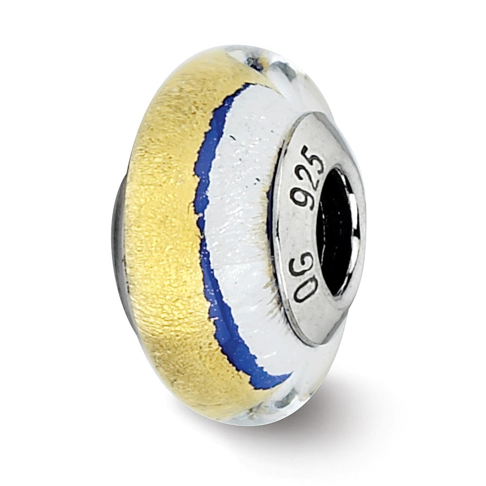 Blue/Gold/Silver Murano Glass Bead & Sterling Silver Charm, 13mm, Item B10158 by The Black Bow Jewelry Co.