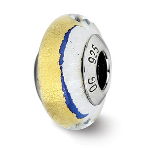 Blue/Gold/Silver Murano Glass Bead & Sterling Silver Charm, 13mm