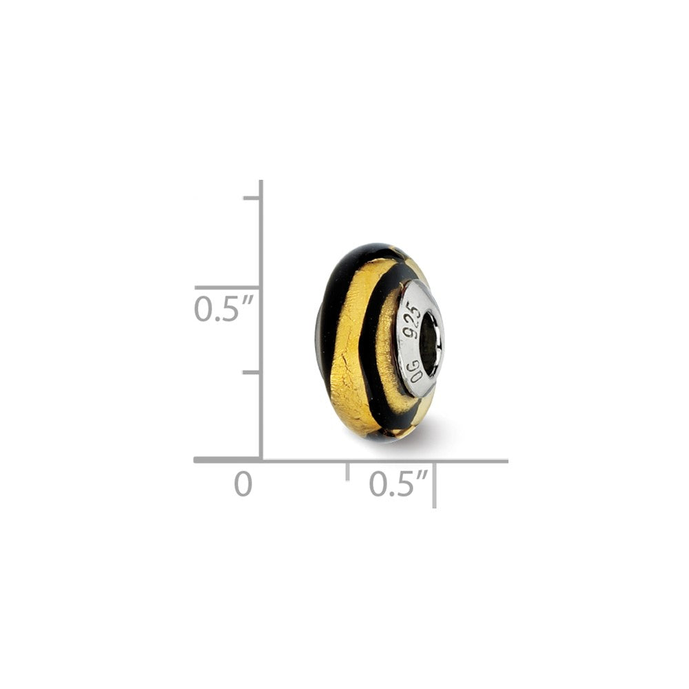 Alternate view of the Golden/Black Stripes Murano Bead & Sterling Silver Charm, 14mm by The Black Bow Jewelry Co.