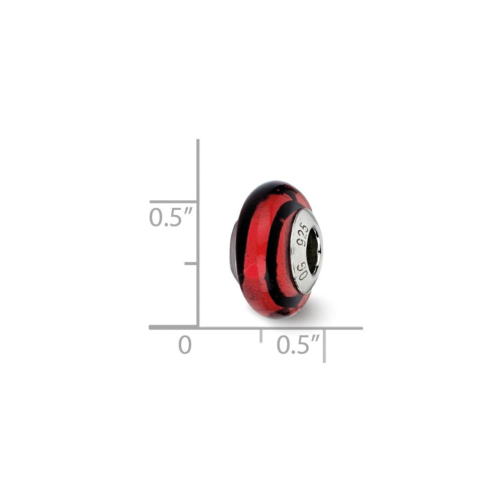 Alternate view of the Red/Black Stripes Murano Bead & Sterling Silver Charm, 13mm by The Black Bow Jewelry Co.