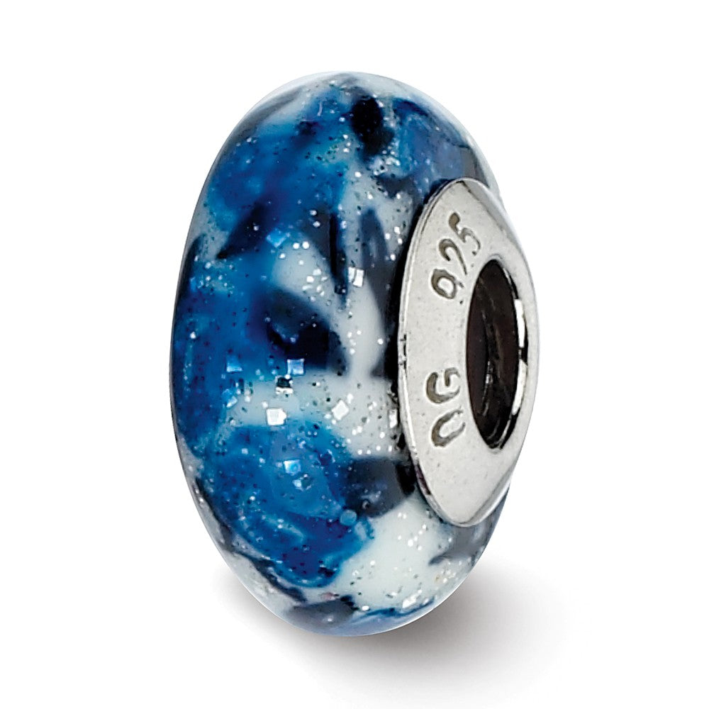 Blue Rose Glitter Overlay Murano Bead & Sterling Silver Charm, 13mm, Item B10169 by The Black Bow Jewelry Co.
