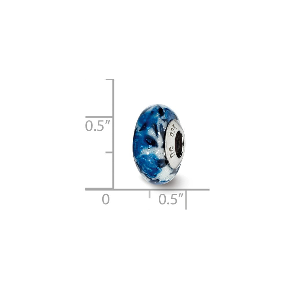 Alternate view of the Blue Rose Glitter Overlay Murano Bead & Sterling Silver Charm, 13mm by The Black Bow Jewelry Co.