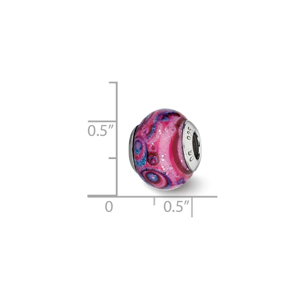 Alternate view of the Pink, Purple Swirls Overlay Glass Bead & Sterling Silver Charm, 15mm by The Black Bow Jewelry Co.