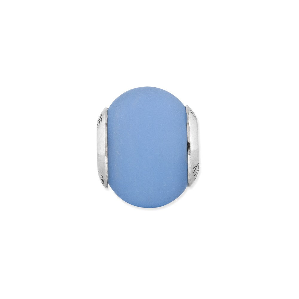 Alternate view of the Blue Matte Italian Murano Bead & Sterling Silver Charm, 14mm by The Black Bow Jewelry Co.