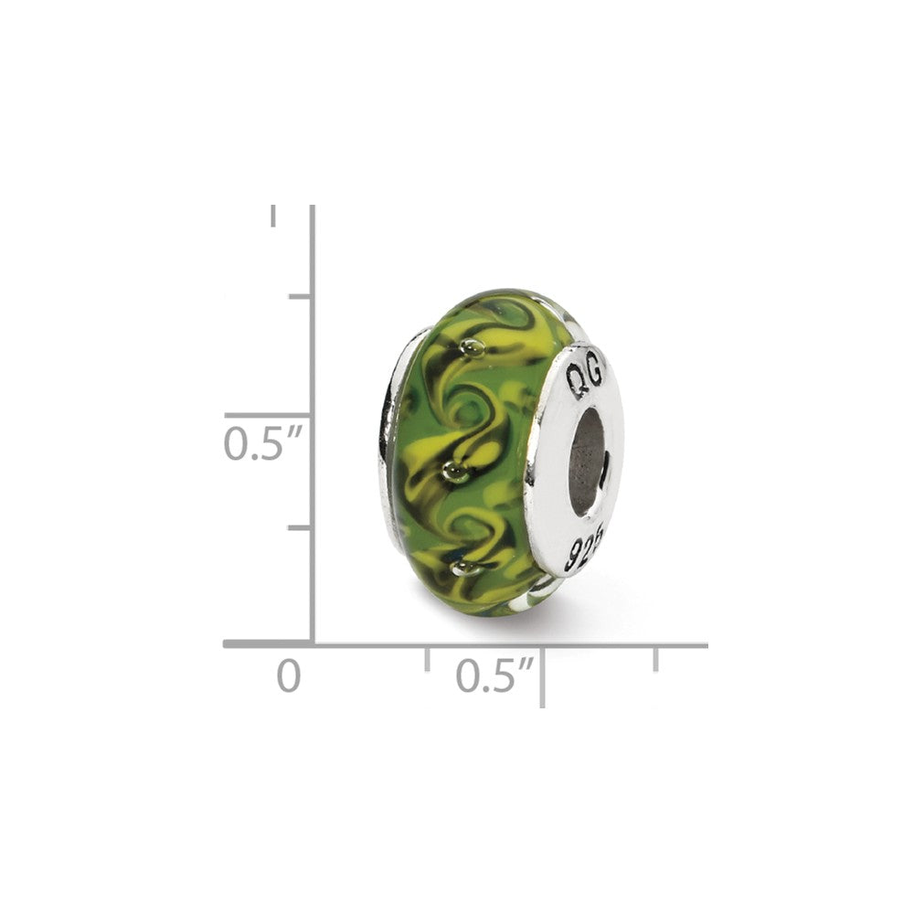 Alternate view of the Green/Yellow Swirl Hand-Blown Glass Bead & Sterling Silver Charm, 13mm by The Black Bow Jewelry Co.