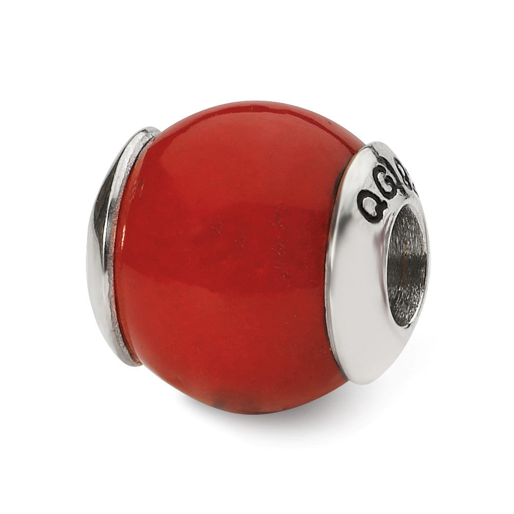 Red Quartz Stone Bead & Sterling Silver Charm, 11mm, Item B10395 by The Black Bow Jewelry Co.
