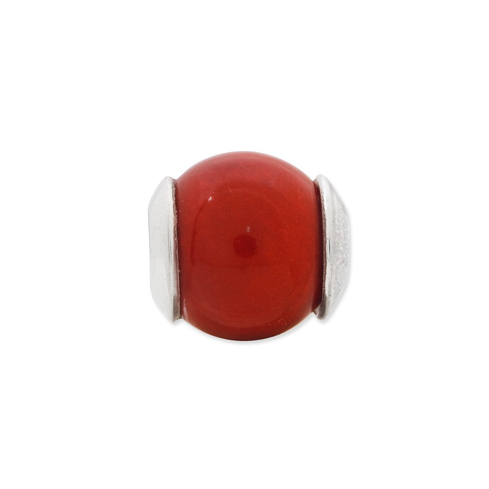 Alternate view of the Red Quartz Stone Bead & Sterling Silver Charm, 11mm by The Black Bow Jewelry Co.
