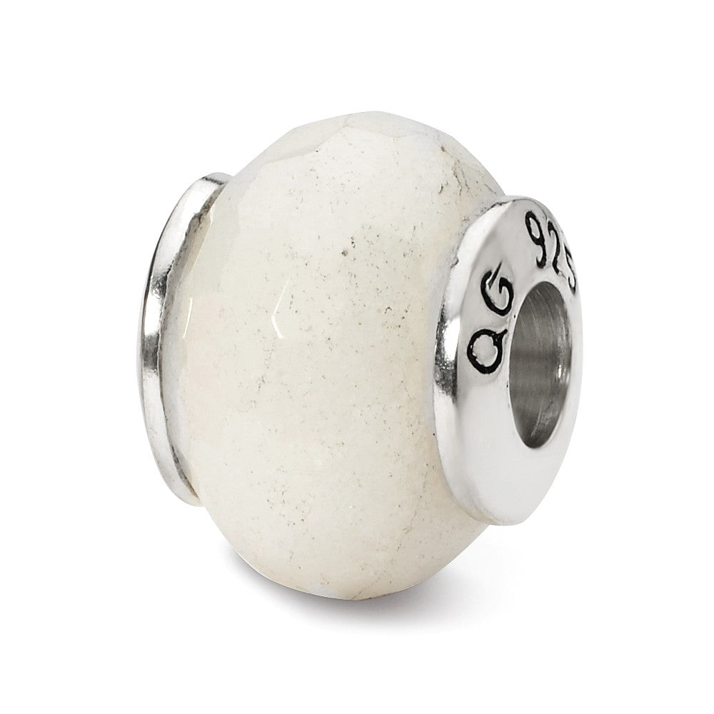White Quartz Stone Bead & Sterling Silver Charm, 13mm, Item B10396 by The Black Bow Jewelry Co.