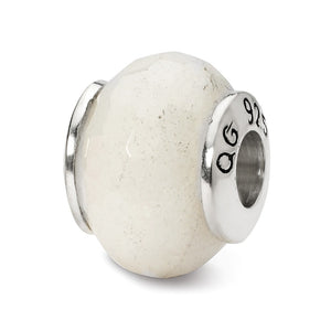 White Quartz Stone Bead & Sterling Silver Charm, 13mm - The Black Bow Jewelry Co.