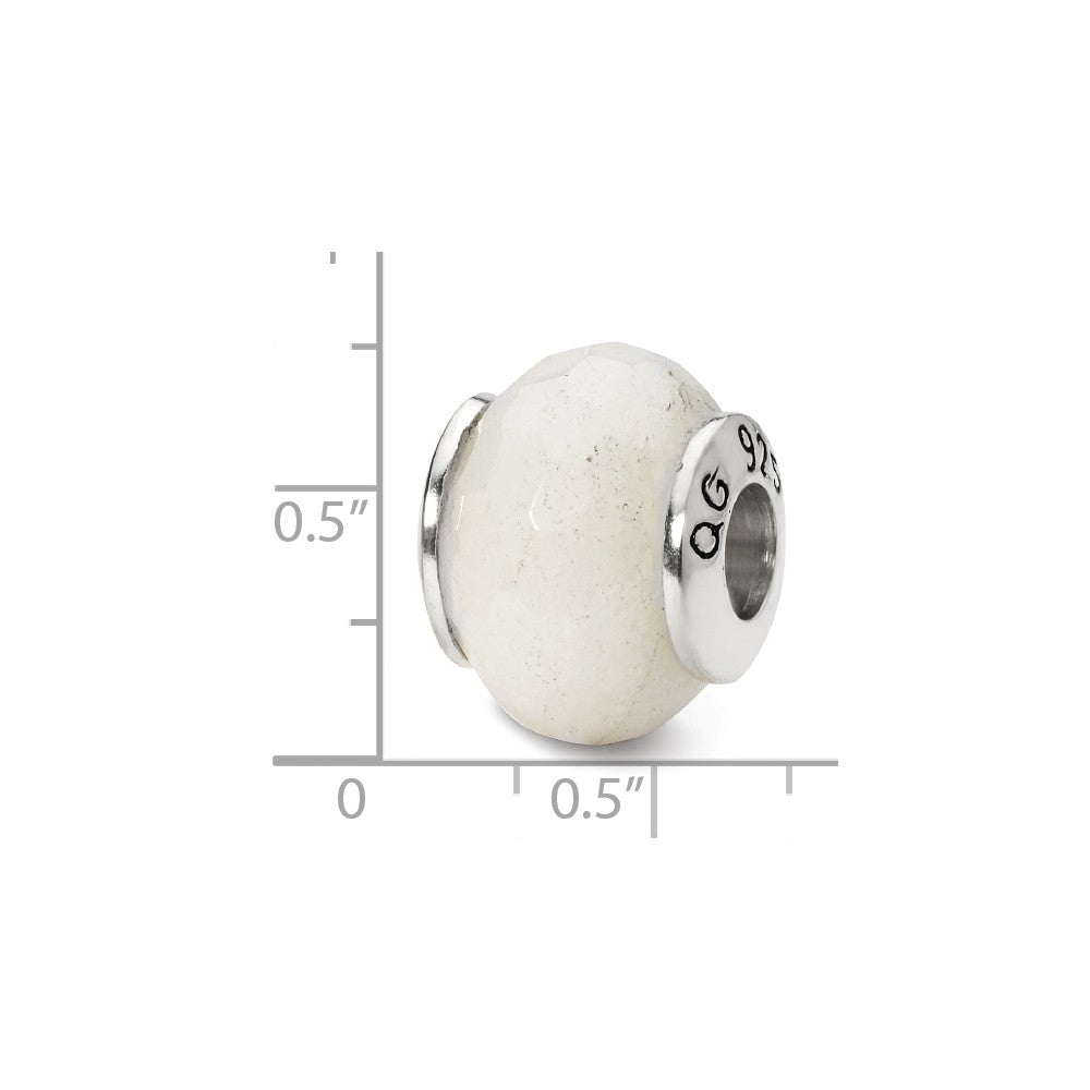 Alternate view of the White Quartz Stone Bead & Sterling Silver Charm, 13mm by The Black Bow Jewelry Co.