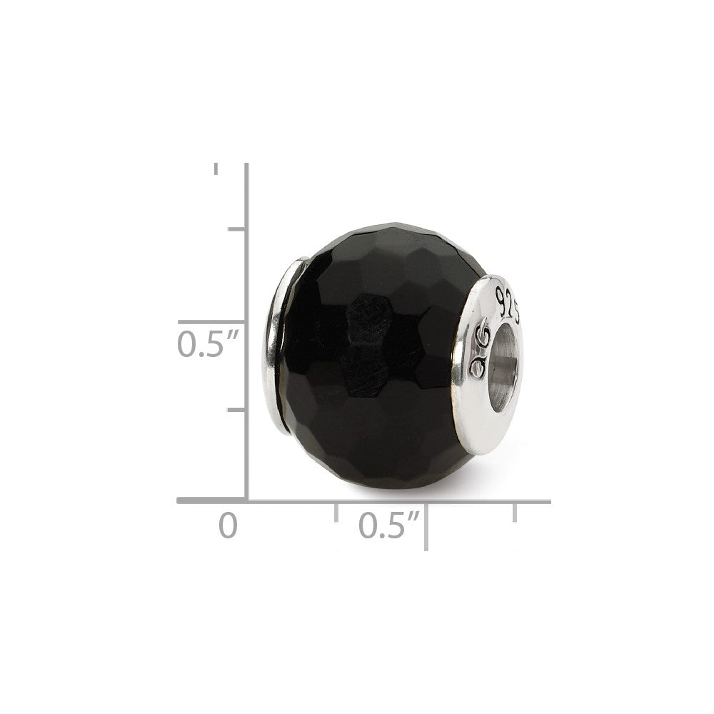 Alternate view of the Black Agate Stone Bead & Sterling Silver Charm, 13mm by The Black Bow Jewelry Co.