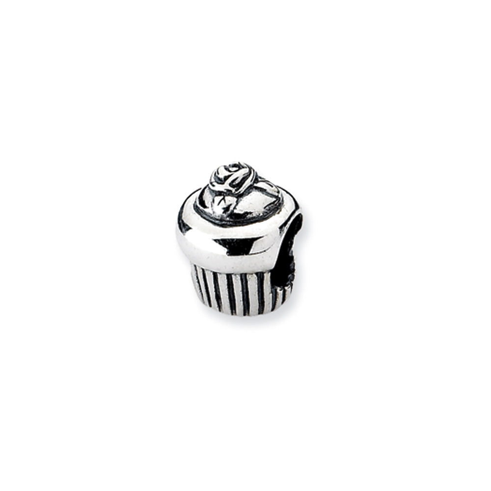 Sterling Silver Cupcake Bead Charm, Item B10518 by The Black Bow Jewelry Co.