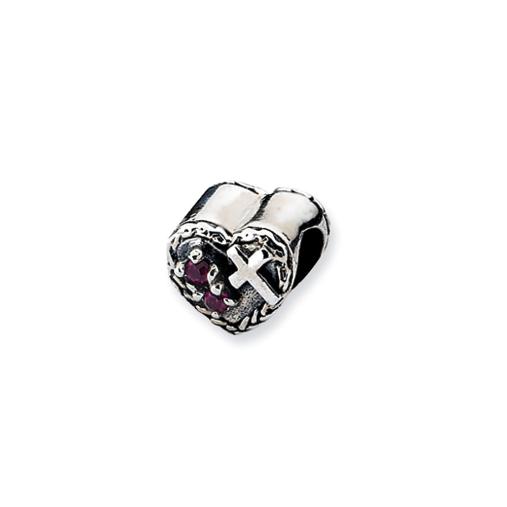 Sterling Silver CZ and Cross Heart Bead Charm, Item B10530 by The Black Bow Jewelry Co.