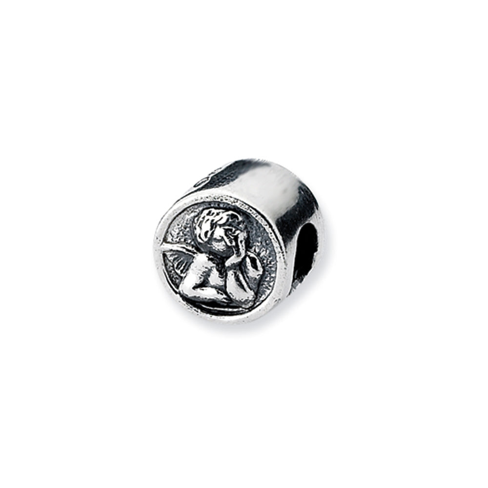 Sterling Silver Angel Bead Charm, Item B10531 by The Black Bow Jewelry Co.