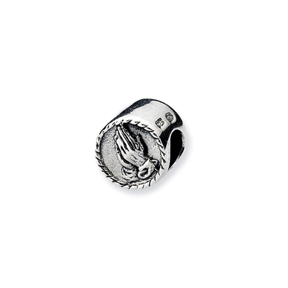 Sterling Silver Praying Hands Bead Charm, Item B10532 by The Black Bow Jewelry Co.