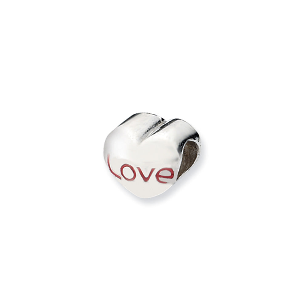 Sterling Silver Love Heart Bead Charm, Item B10542 by The Black Bow Jewelry Co.