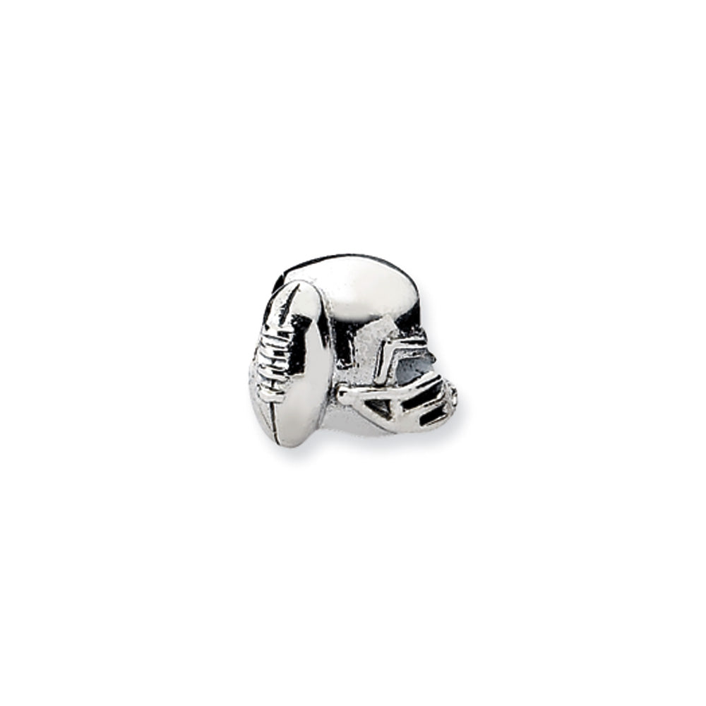 Sterling Silver Football Helmet Bead Charm, Item B10552 by The Black Bow Jewelry Co.