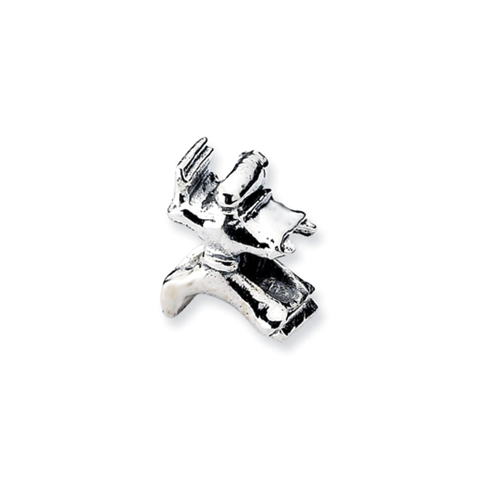 Sterling Silver Karate Person Bead Charm, Item B10554 by The Black Bow Jewelry Co.