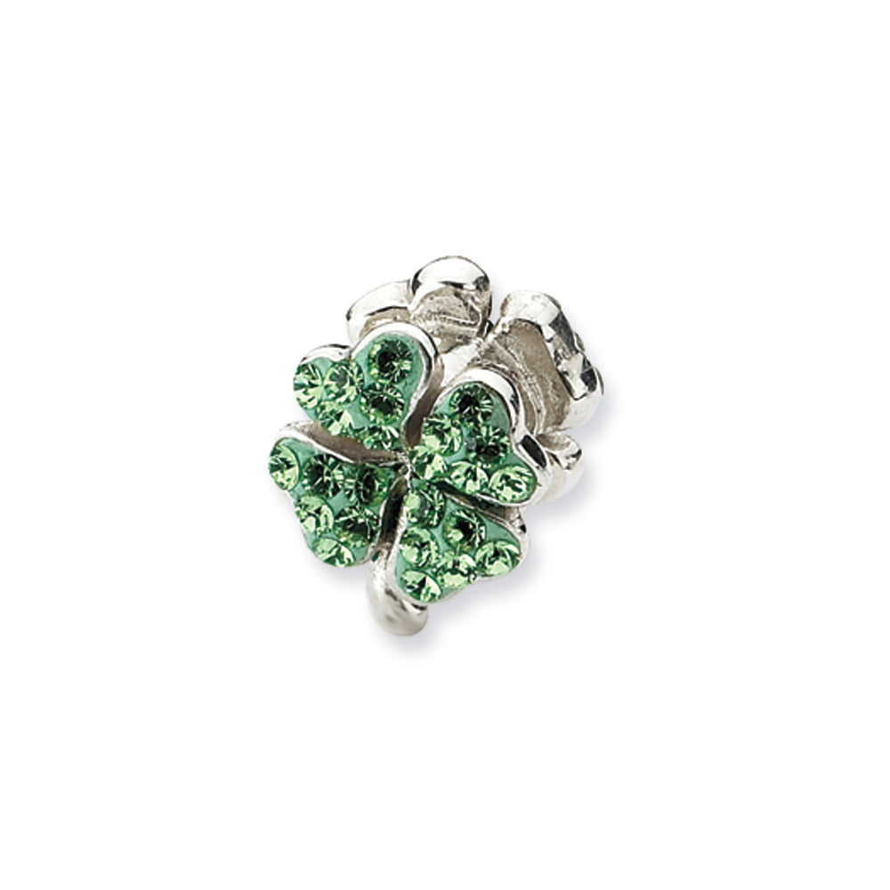 Sterling Silver Light Green Crystal Clover Bead Charm, Item B10561 by The Black Bow Jewelry Co.