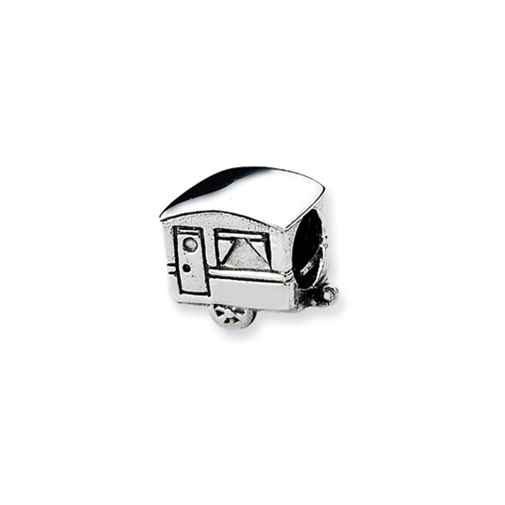 Sterling Silver Camper Trailer Bead Charm, Item B10564 by The Black Bow Jewelry Co.