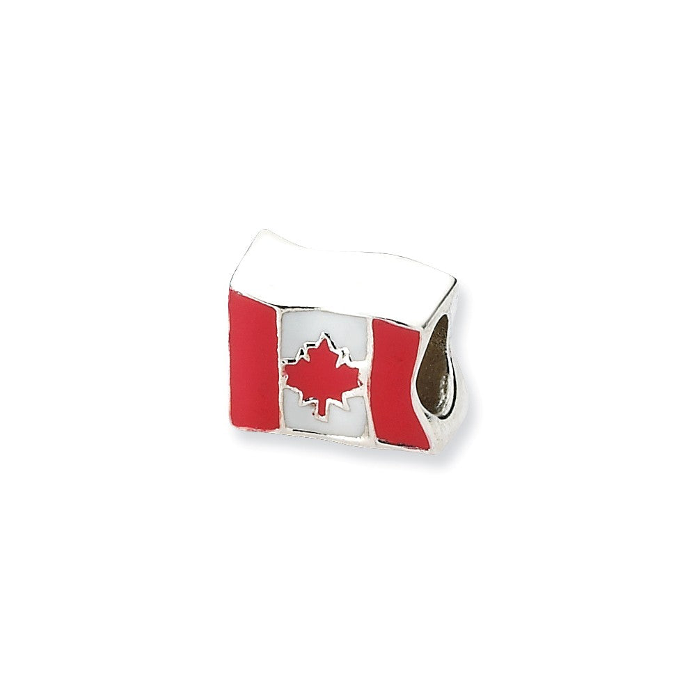 Sterling Silver Canada Flag Bead Charm, Item B10566 by The Black Bow Jewelry Co.