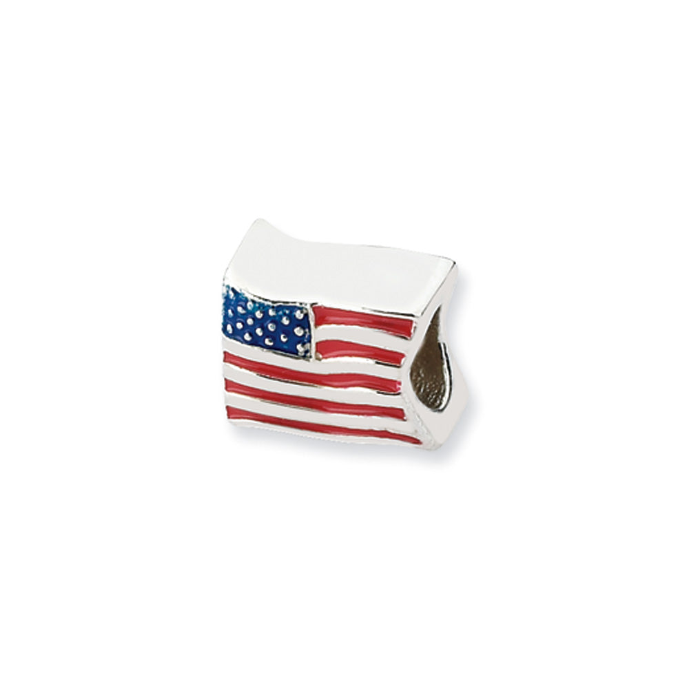 Sterling Silver USA Flag Bead Charm, Item B10568 by The Black Bow Jewelry Co.