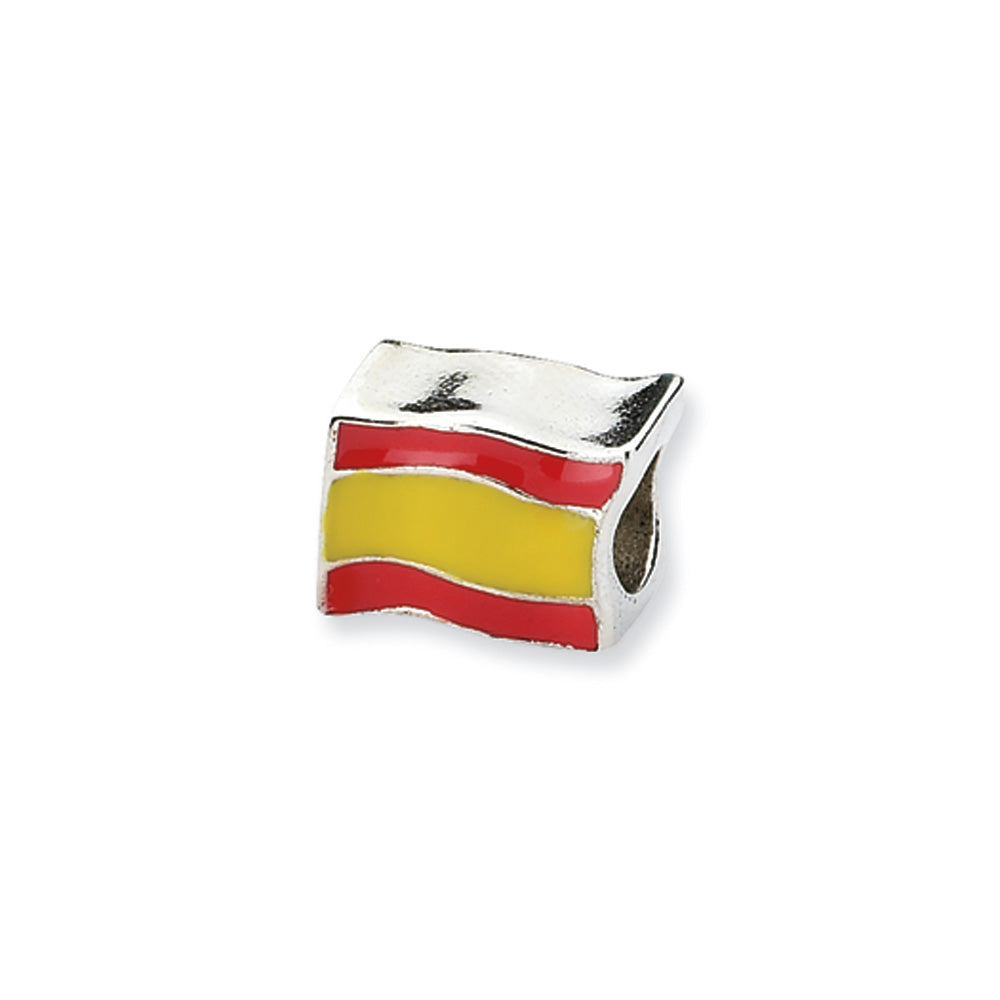 Sterling Silver Spanish Flag Bead Charm, Item B10569 by The Black Bow Jewelry Co.