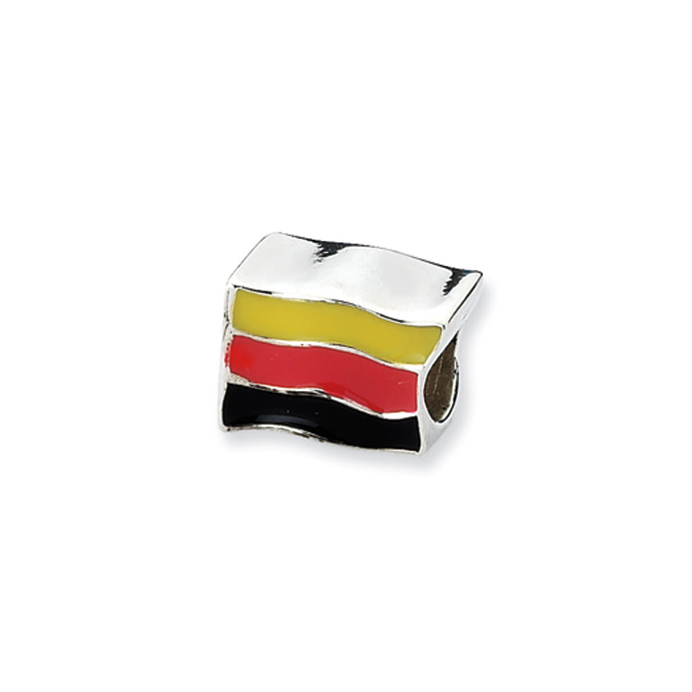 Sterling Silver Germany Flag Bead Charm, Item B10570 by The Black Bow Jewelry Co.