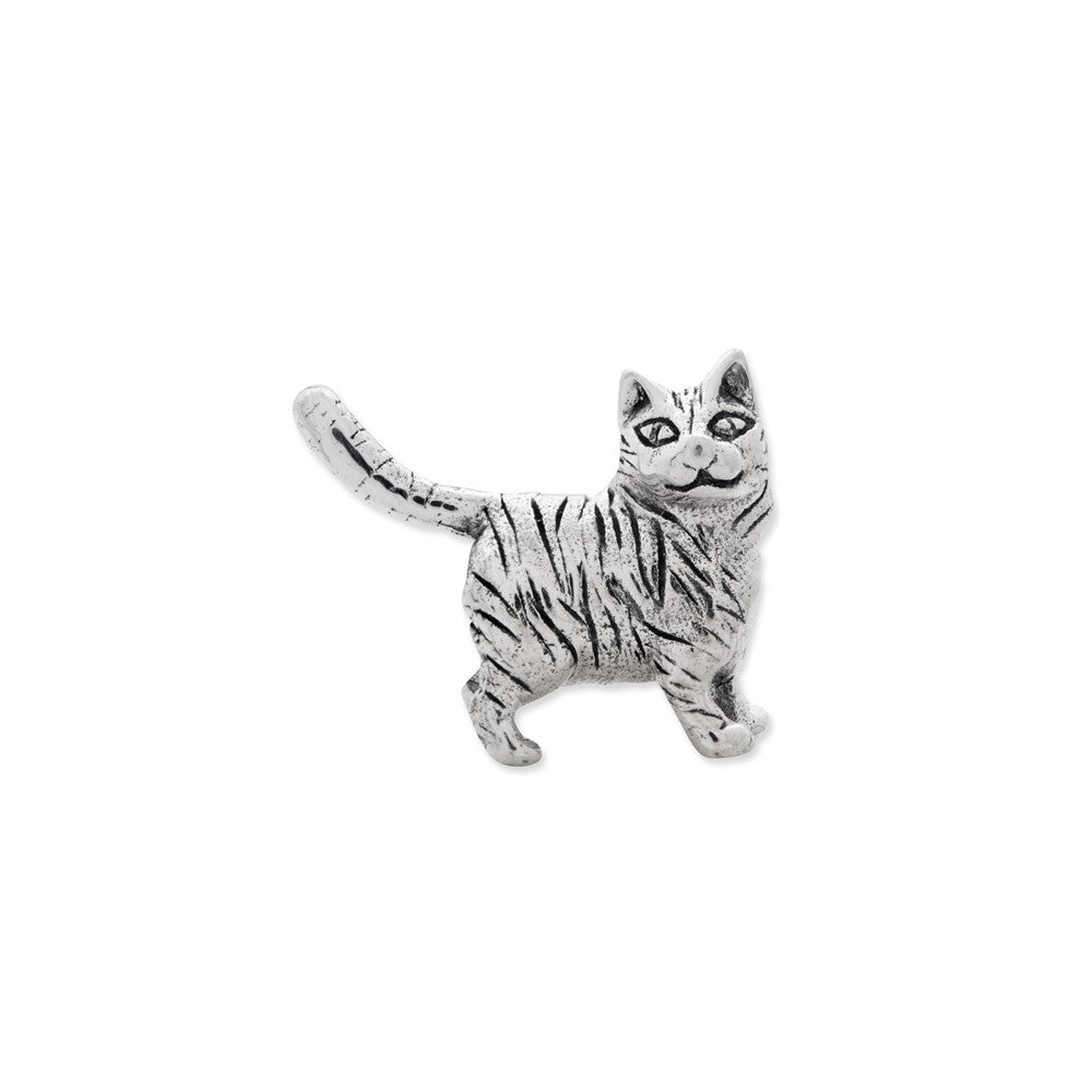 Alternate view of the Sterling Silver American Shorthair Cat Bead Charm by The Black Bow Jewelry Co.