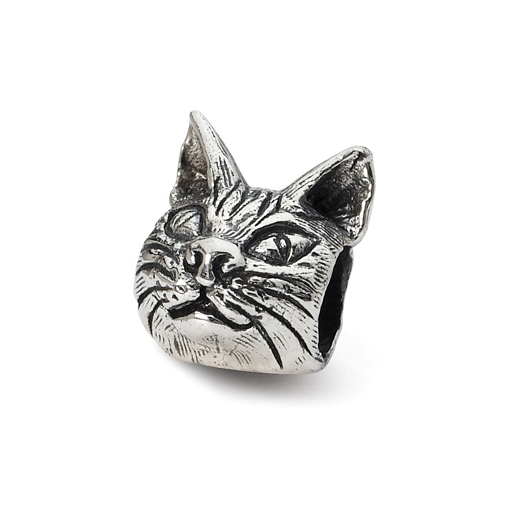 Sterling Silver Maine Coon Cat Head Bead Charm, Item B10575 by The Black Bow Jewelry Co.