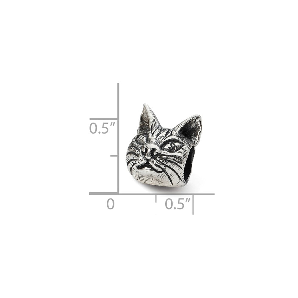 Alternate view of the Sterling Silver Maine Coon Cat Head Bead Charm by The Black Bow Jewelry Co.