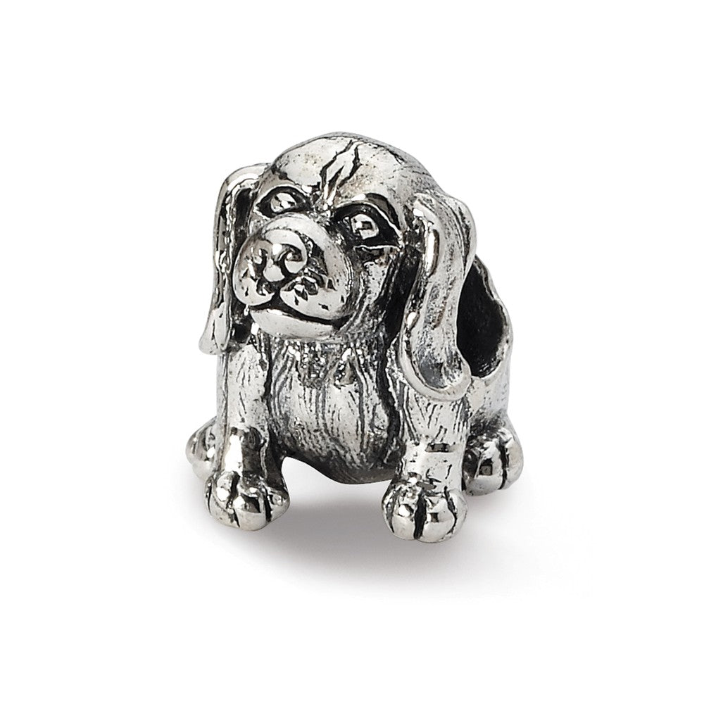 Sterling Silver Beagle Bead Charm, Item B10581 by The Black Bow Jewelry Co.