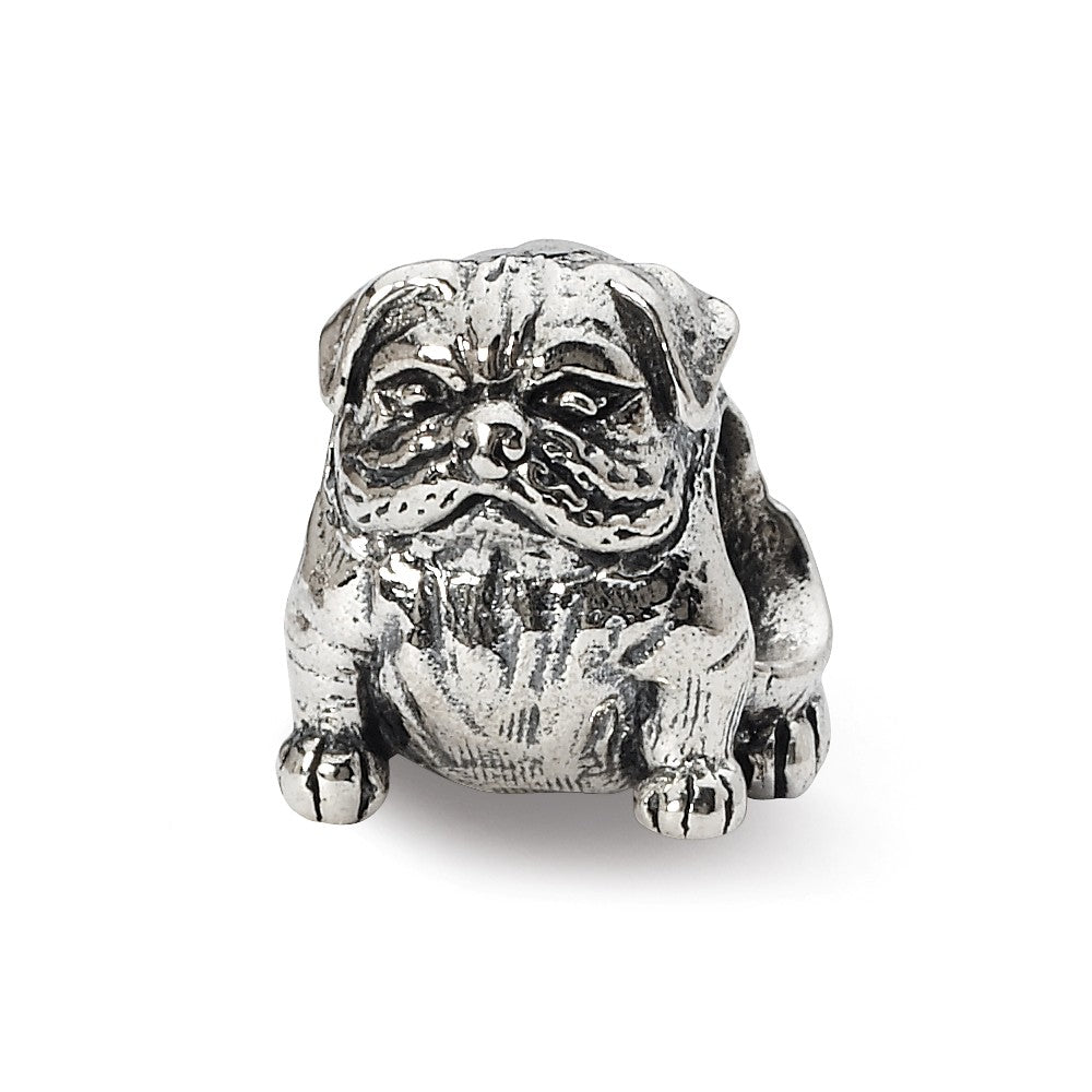 Sterling Silver Bulldog Bead Charm, Item B10584 by The Black Bow Jewelry Co.