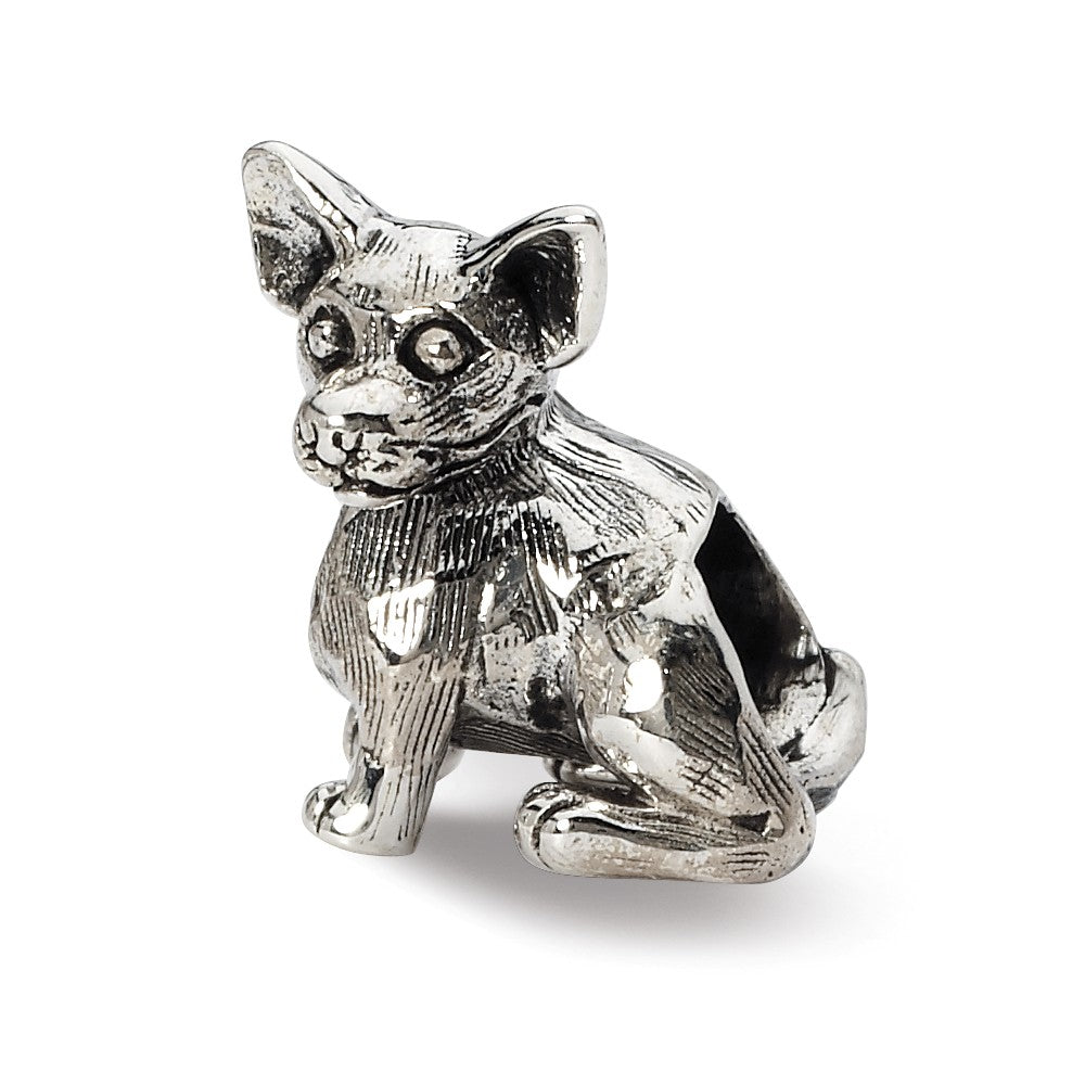 Sterling Silver Chihuahua Bead Charm, Item B10585 by The Black Bow Jewelry Co.