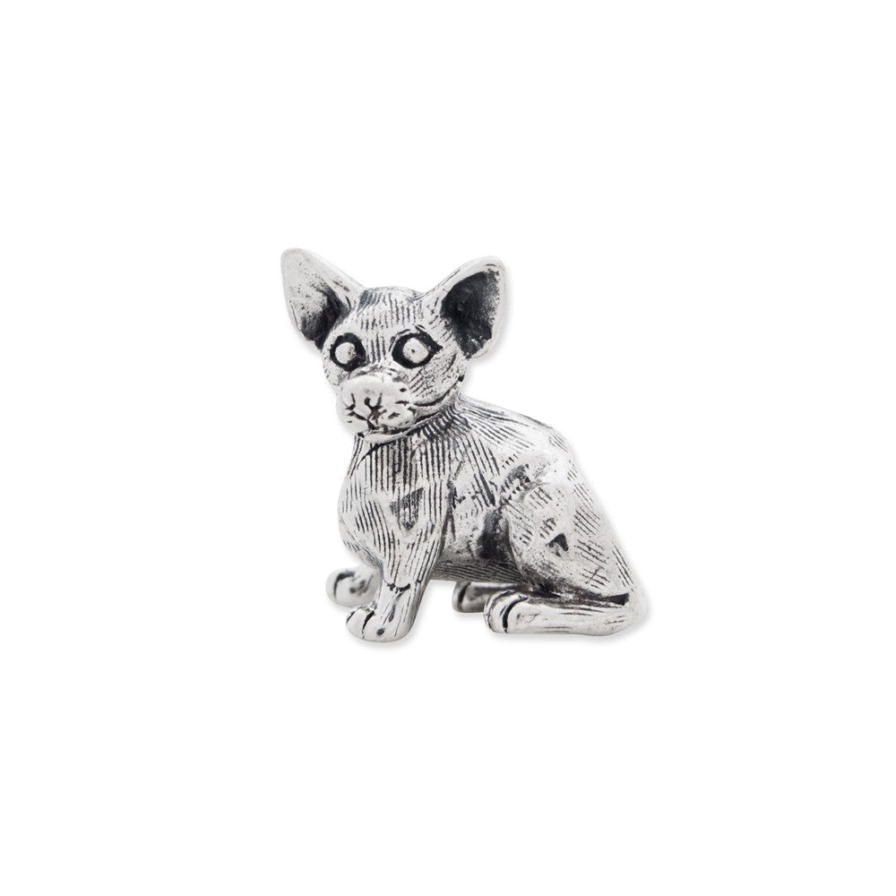 Alternate view of the Sterling Silver Chihuahua Bead Charm by The Black Bow Jewelry Co.