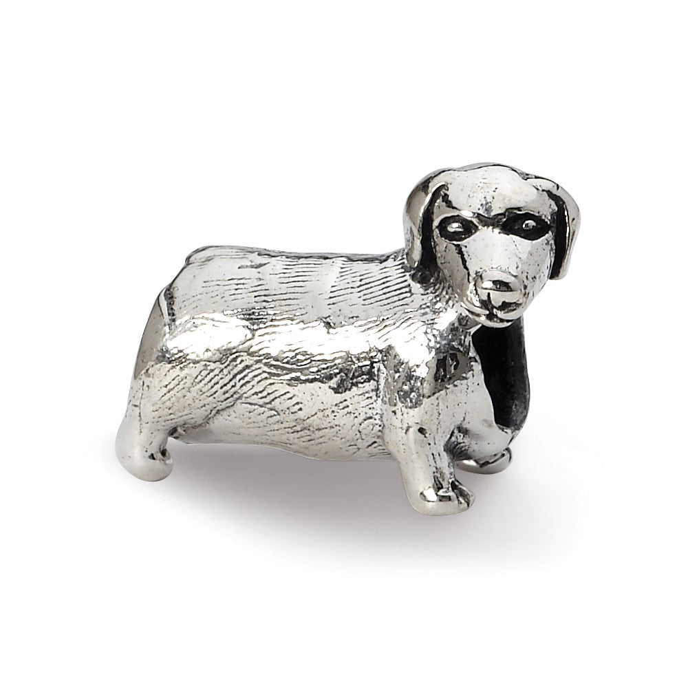 Sterling Silver Dachshund Bead Charm, Item B10586 by The Black Bow Jewelry Co.