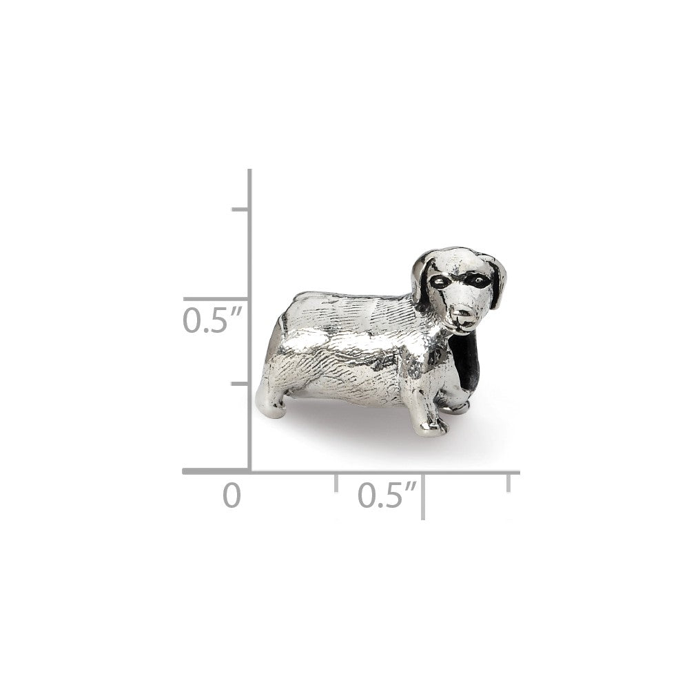 Alternate view of the Sterling Silver Dachshund Bead Charm by The Black Bow Jewelry Co.