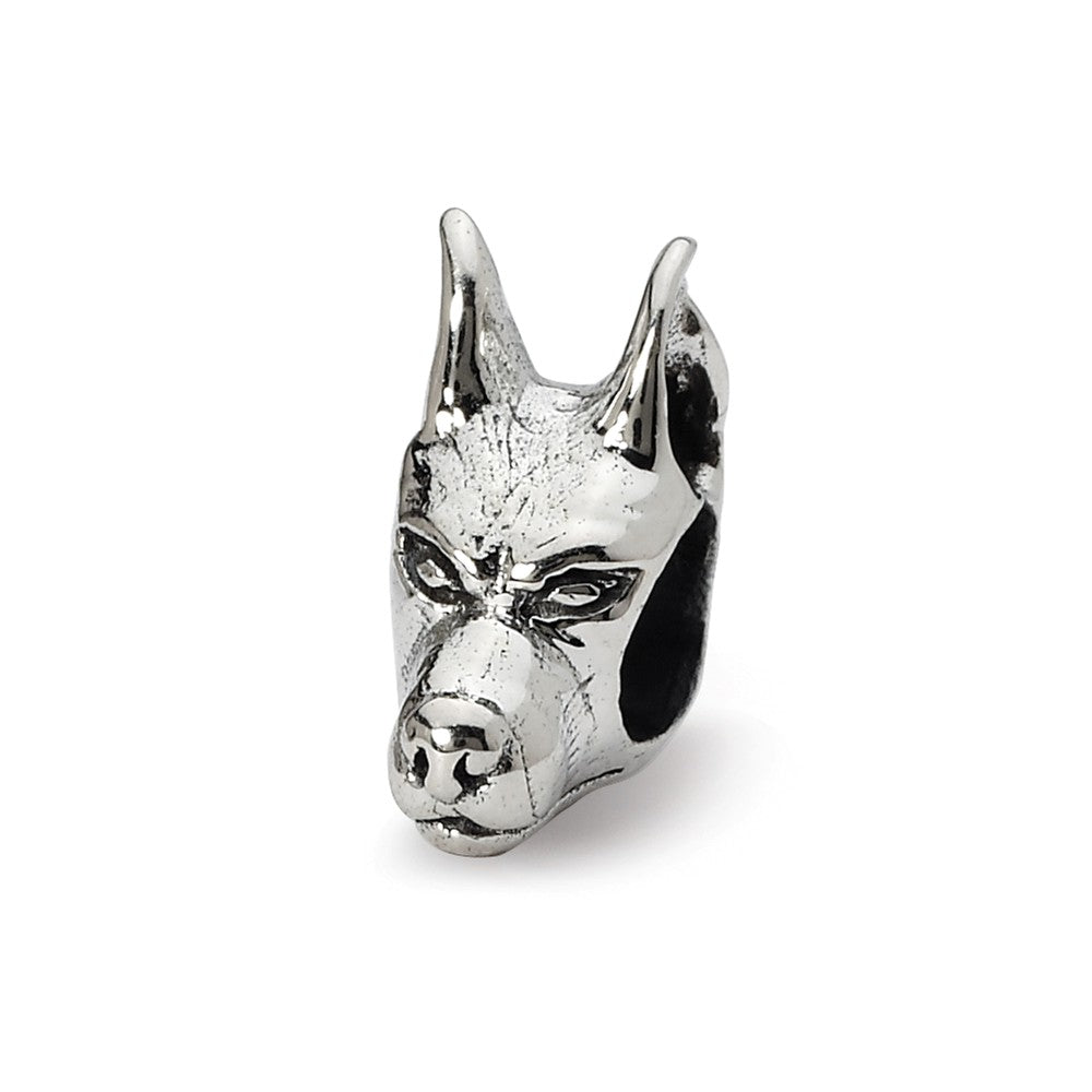 Sterling Silver Doberman Pinscher Head Bead Charm, Item B10587 by The Black Bow Jewelry Co.