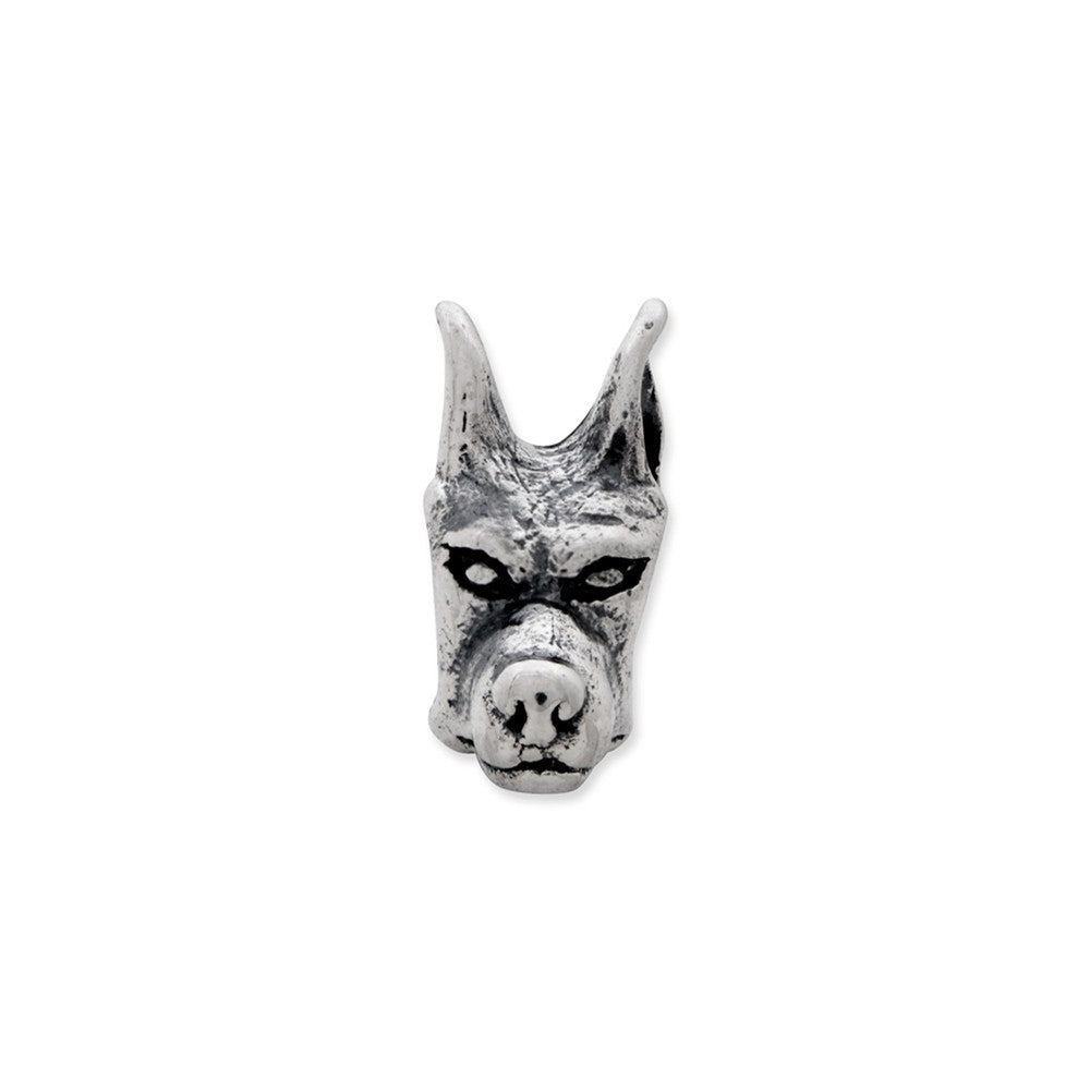 Alternate view of the Sterling Silver Doberman Pinscher Head Bead Charm by The Black Bow Jewelry Co.