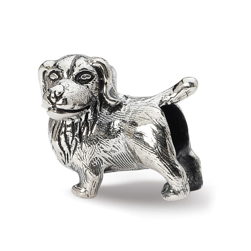 Sterling Silver Golden Retriever Bead Charm, Item B10590 by The Black Bow Jewelry Co.
