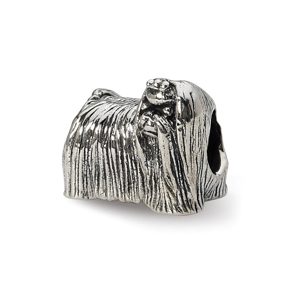 Sterling Silver Maltese Dog Bead Charm, Item B10592 by The Black Bow Jewelry Co.