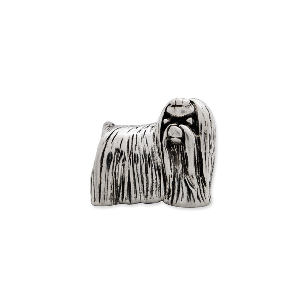 Alternate view of the Sterling Silver Maltese Dog Bead Charm by The Black Bow Jewelry Co.